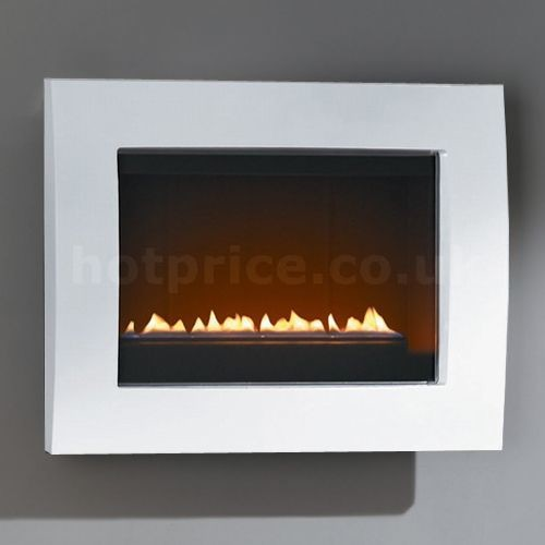 Courts Pureglow Landscape Flueless Gas Fire, Gloss White contemporary fireplaces