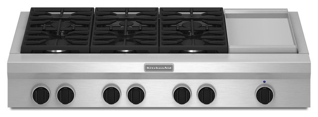 kitchenaid 48 inch 6 burner with griddle gas rangetop commercial