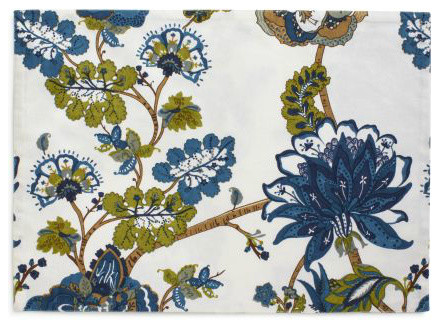 Marine-Blue Floral Placemat traditional-placemats