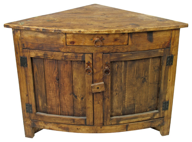 Small Curved Front Rustic Corner cabinet - Rustic - Side Tables And End Tables - phoenix - by ...