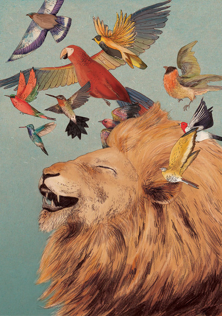 The Lions Laugh Giclee Print by Lizzy Stewart contemporary artwork