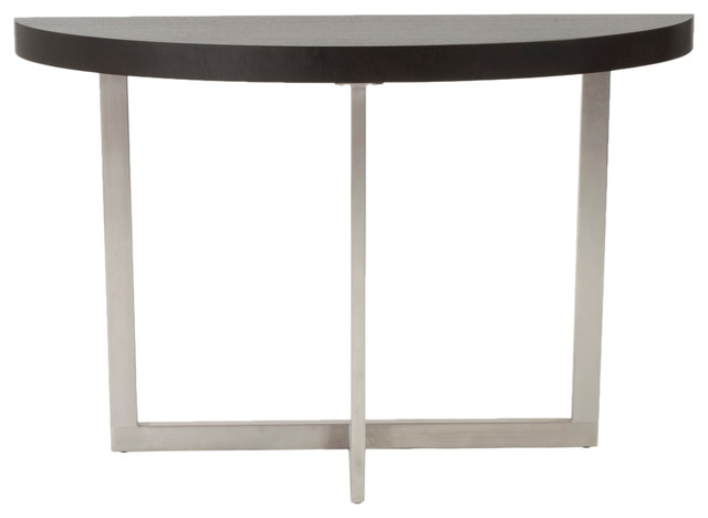 Euro Style Oliver Collection Oliver Console Table in Wenge/Brushed Stainless Ste modern-console-tables