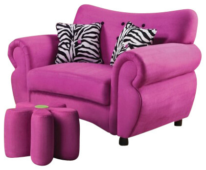 Lucy Pink Fabric Upholstered Love Seat Chair with Rounded Arms and Pillows contemporary-loveseats