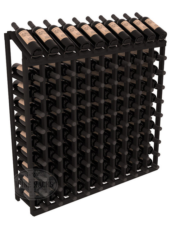 Wine Racks America - 100 Bottle Display Top Wine Rack in Redwood, Black Stain - Make your top 10 vintages focal points of your cellar or store. Our wine cellar kits are constructed to industry-leading standards. You'll be satisfied. We guarantee it. Display top wine racks offer ample storage below a presentation row. Great as a stand alone unit or paired with other modular racks from our product lineup.
