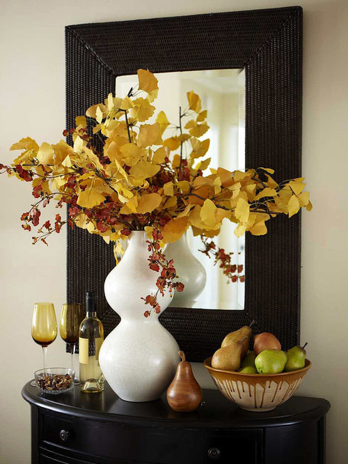 Fall Decorating Ideas - Fall flowers and a bowl of fruits in the foyer