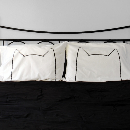 His and Hers Catnap Pillow Case Set eclectic-shams