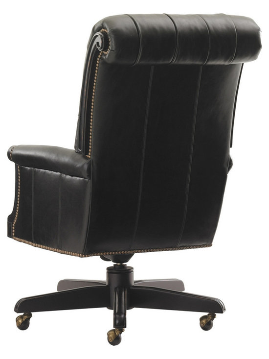 Breckenridge Cascade Desk Chair in Rich Black Leather - Back - Photo by Sligh by Lexington Furniture, chair available @ http://www.dynamichomedecor.com/Sligh-147WB-938-01.html