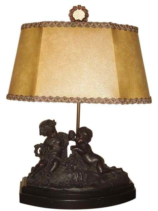 Antique Spelter Cherub Lamp - Wonderful Antique Spelter Statue of two Cherubs Holding Wreaths. Their faces have beautiful and