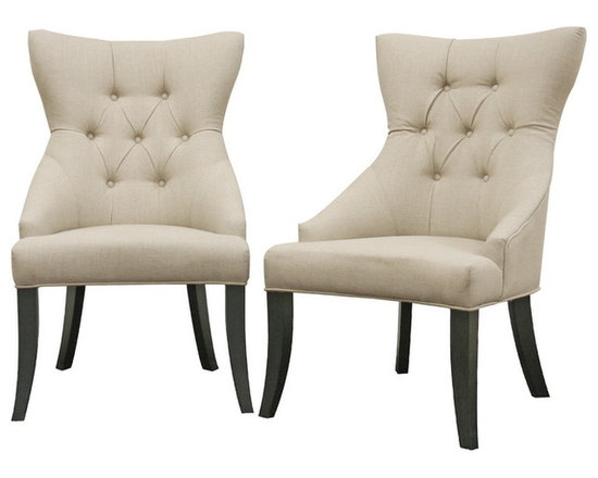 Baxton Studio - Daphne Neutral Linen Fabric Dining Chairs, Set of 2 - Though at times curves are described as being dangerous, the scooped out backrest and gently curved legs on this dining chair are delightful! With elements of traditional and contemporary design, the Daphne Dining Chair beautifully completes a dining area or serves as a perfect pair of accent chairs. Each chair is carefully built with a wooden frame, foam cushioning, and black legs with non-marking feet. Style highlights are the natural-colored cotton/poly blend fabric upholstery, matching piped edging, and covered buttons. The Daphne Chair is fully assembled. also sold as a set of eight chairs (offered separately).