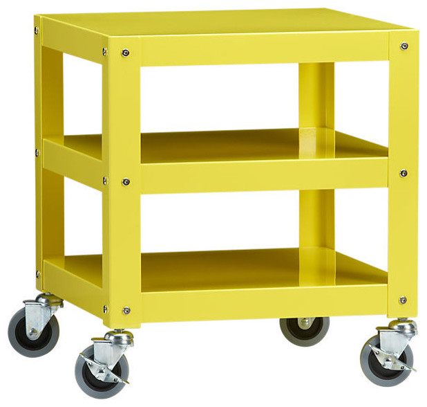 Go Cart Yellow Rolling Table Modern Side Tables And