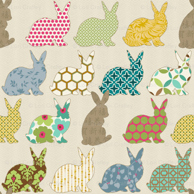 Year Of The Colorful Rabbit contemporary-fabric