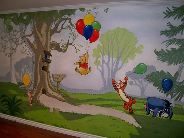 winnie the pooh mural playroom traditional toronto. Black Bedroom Furniture Sets. Home Design Ideas