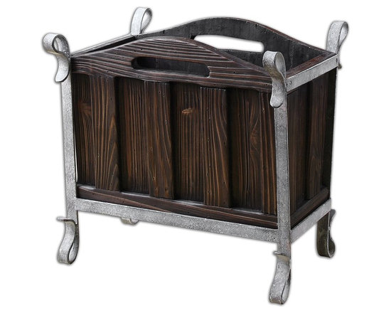 Miho Wooden Magazine Holder - *Medium Stained Wood With Heavy Grain Showing Through And Silver Metallic Iron Accents