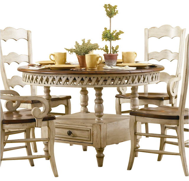 Hooker Furniture Summerglen Round Dining Table with Leaf in Antique White farmhouse-dining-tables