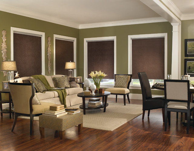 Roller Shade Modern Living Room Brown Green Open Concept Contemporary Roller Shades
