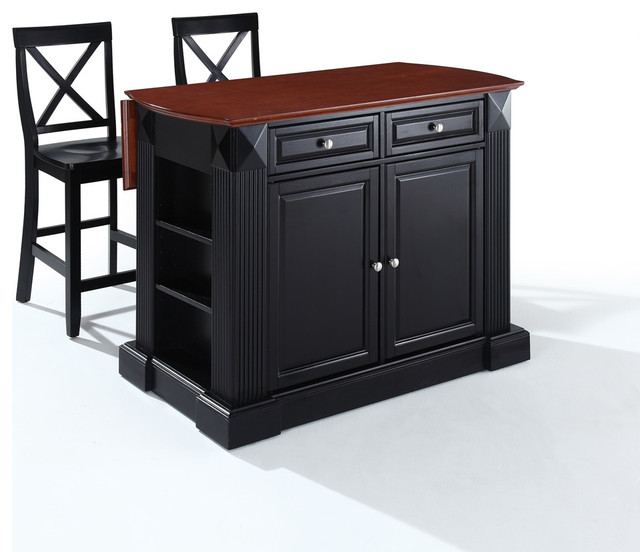 """Drop Leaf Breakfast Bar Top Kitchen  Island with 24"""" Black X-Back  Stools traditional-kitchen-islands-and-kitchen-carts"""