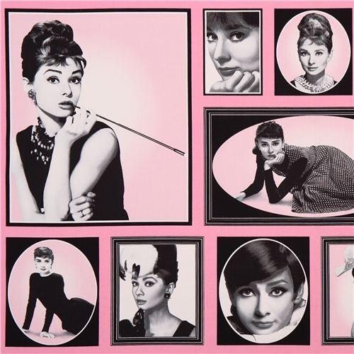 Pink Audrey Hepburn Fabric Robert Kaufman Hollywood Icons