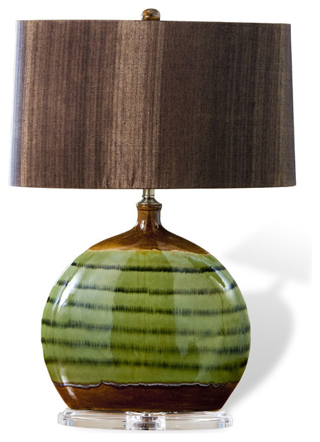 ozark olive green ceramic acrylic wood shade modern lamp. Black Bedroom Furniture Sets. Home Design Ideas