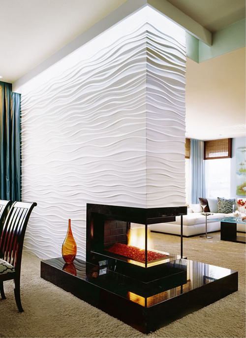 Love the fireplace what is the white wavy material for Living room 3d tiles