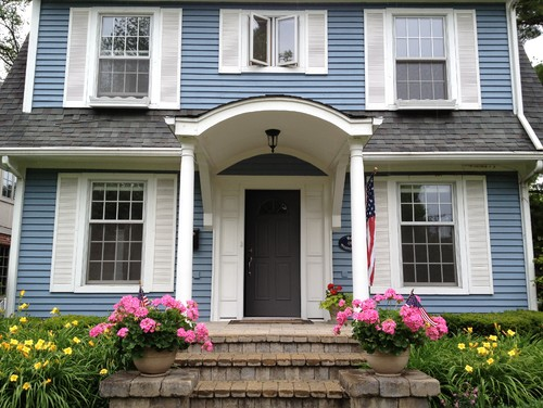 1926 dutch colonial front door opens directly into living for Front doors for colonial homes