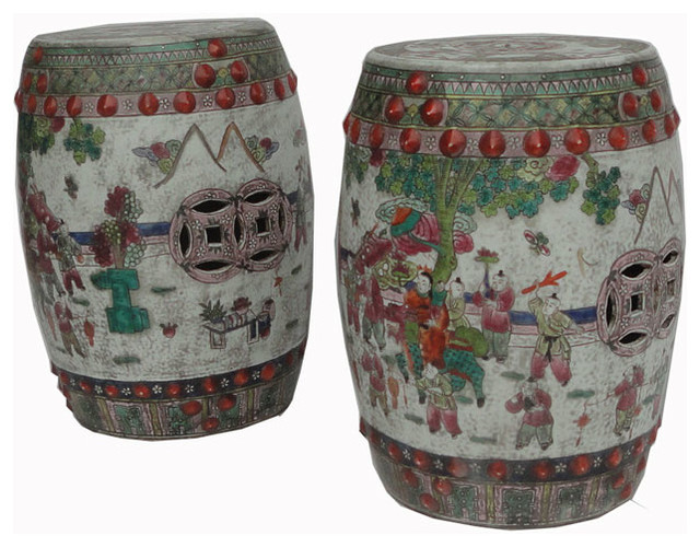 Pair Garden Stool Unique Chinese Antique Hand Painting
