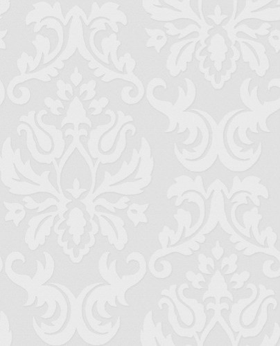 Paintable Damask Wallpaper in White modern wallpaper