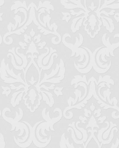 Paintable Damask Wallpaper in White modern-wallpaper