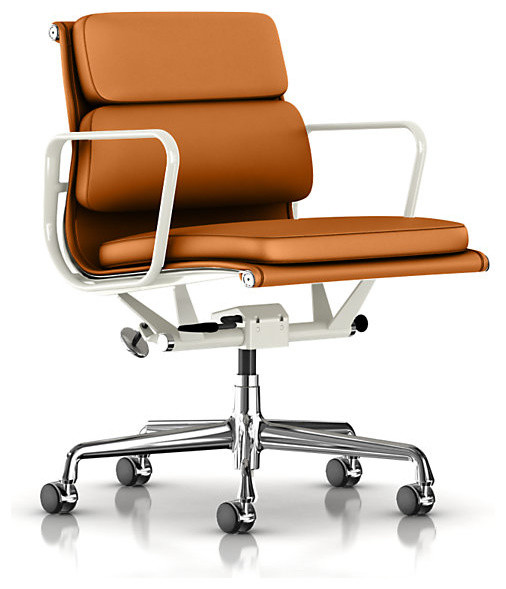 Eames Soft Pad Management Chair Metallic Dream Cow Leather Modern Office