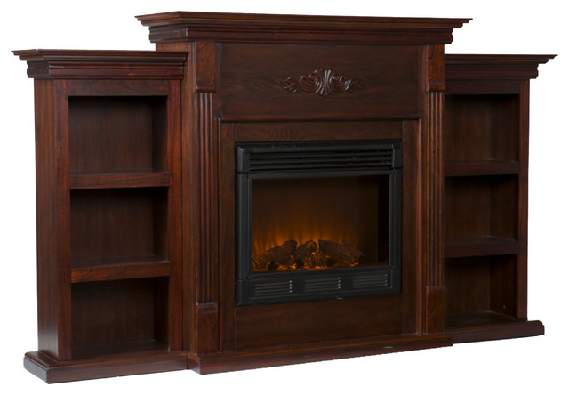 Fredericksburg Electric Fireplace With Bookcases Espresso Traditional Indoor Fireplaces