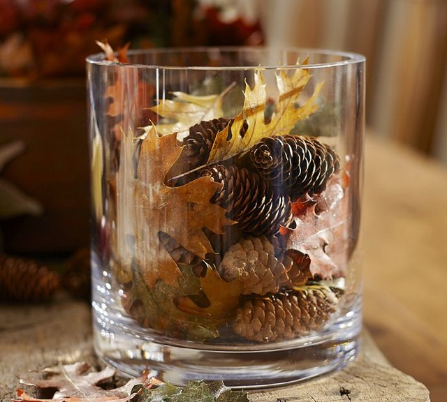 Natural Oak Leaf & Pinecone Vase Filler traditional-home-decor
