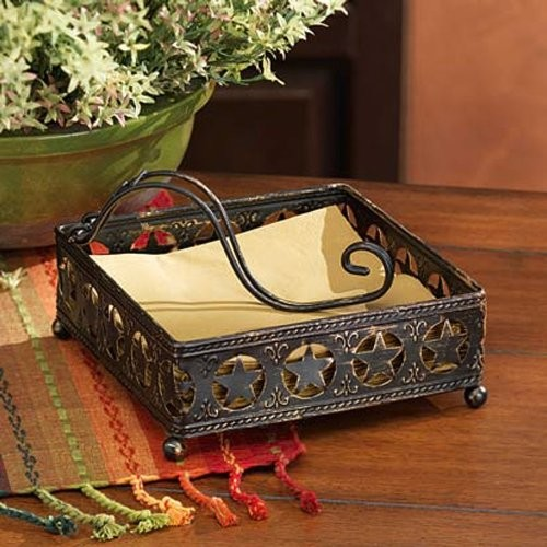 "Press Metal 7"" Square Napkin Holder, Vintage Kitchen Accessory"