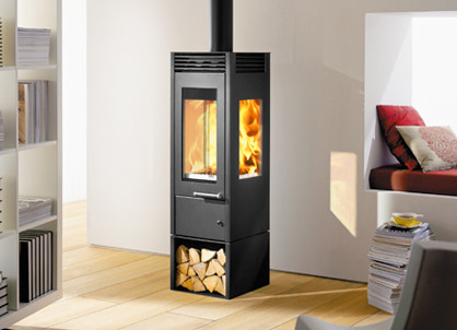 Austroflamm glass wood stove contemporary wood burning stoves - Contemporary wood furniture burning fireplaces ...