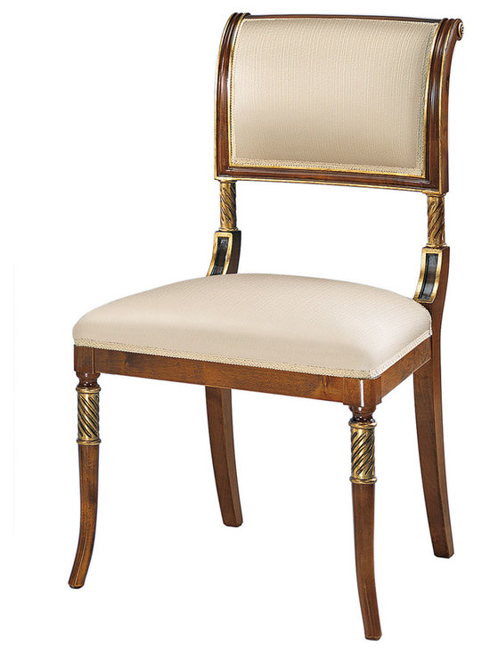 "Inviting Home - English Regency Side Chair - English Regency style side chair; seat is 21""w x 17-1/2""D x 19""H; back is 36-1/2""H; hand-crafted in Italy; English Regency style upholstered chairs in medium walnut finish with antiqued gold leaf and dark walnut accents. Chairs have gold patterned upholstery. These upholstered chairs are hand-crafted in Italy."