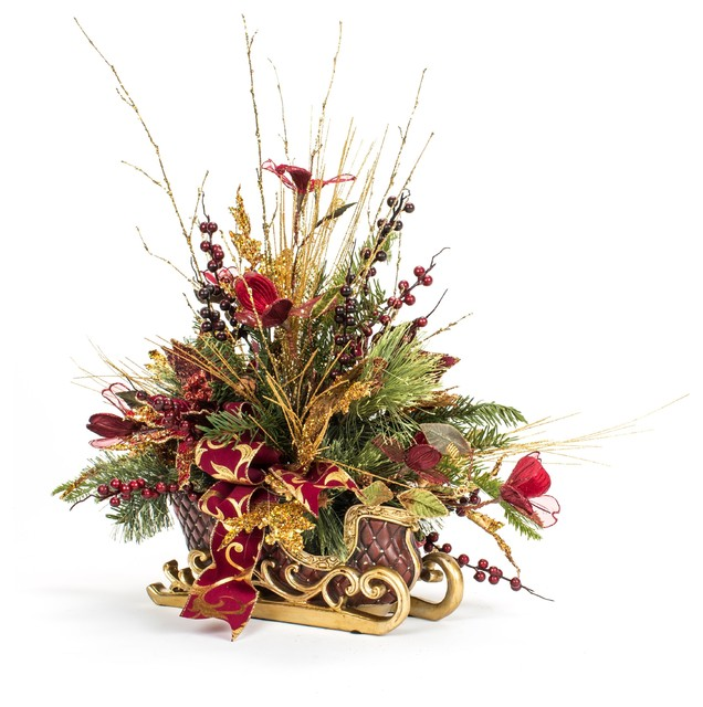 One of a kind red poinsettia christmas sleigh arrangement for Poinsettia arrangements