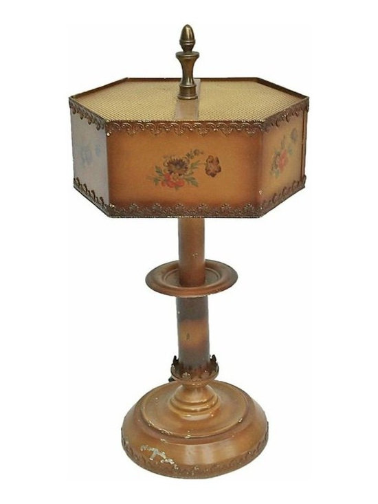Floral Tole Lamp - Vintage floral tole table lamp, with hand painted floral bouquet on each shade panel. A painted metal mesh light diffuser at top, and the shade is an elongated hexagon shape with applied metal acanthus leaf design trim at top, bottom, and base edges.
