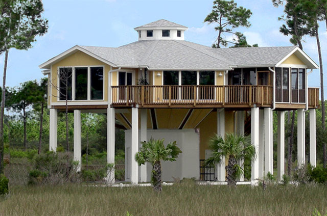 Pedestal homes other metro by topsider homes for Hurricane proof house plans
