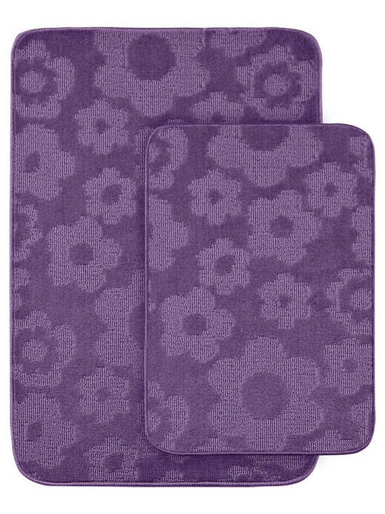 Sands Rug - Petal Purple Bath Rug (Set of 2) - Protect young toes and add comfort and color to your child's or pre-teen's bath with these fun, durable and machine washable bath rugs. The polypropylene fabric is stain-resistant and soft, while the non-skid rubber backing holds rugs in place for safety.