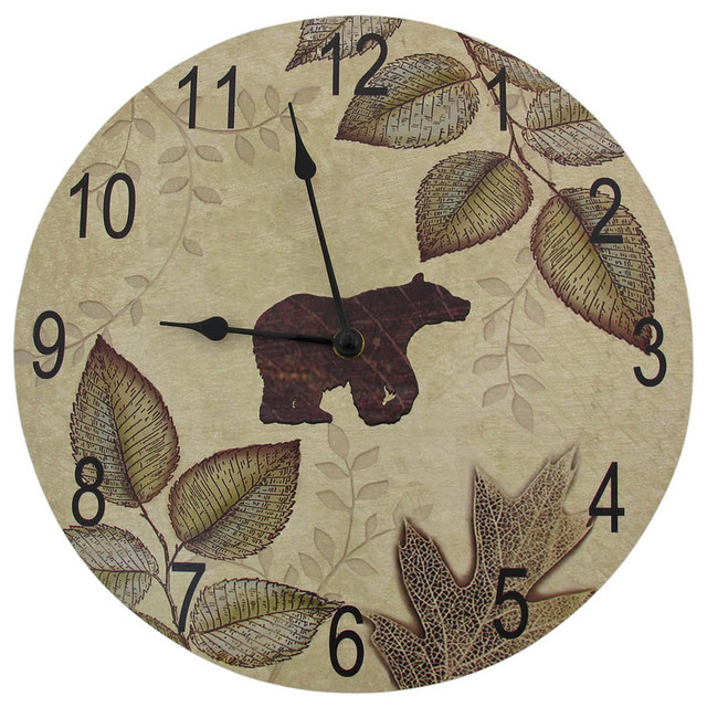 Bear and Leaves Wilderness Themed Wood Wall Clock 12 Inch contemporary-wall-clocks