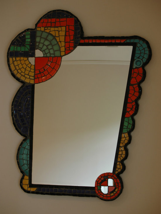 Mosaic Mirror - Custom mosaic mirror in an art deco style. Fiesta ware dishes used as tesserae, and handmade ceramic tiles for border. Size approx. 30 x 20 inches.