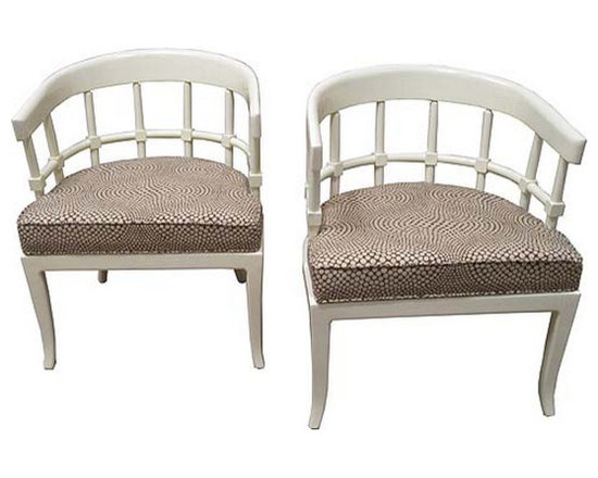Pair of Mid Century Cream Painted Chairs - http://www.rtfacts.com/shop/chairs-seating/pair-mid-century-cream-chairs/