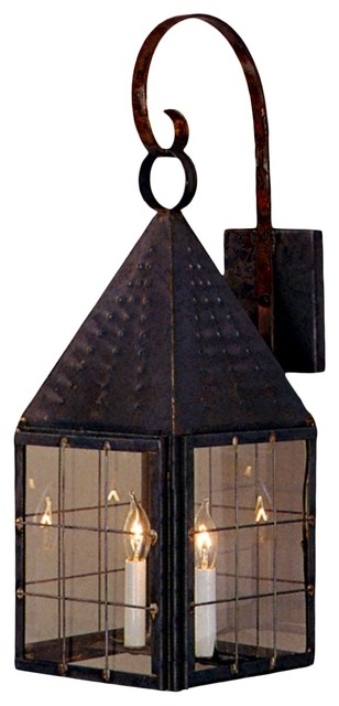 Colonial Exterior Wall Sconces : Colonial New England Copper Lantern Wall Light with Bracket and Scroll - Traditional - Outdoor ...