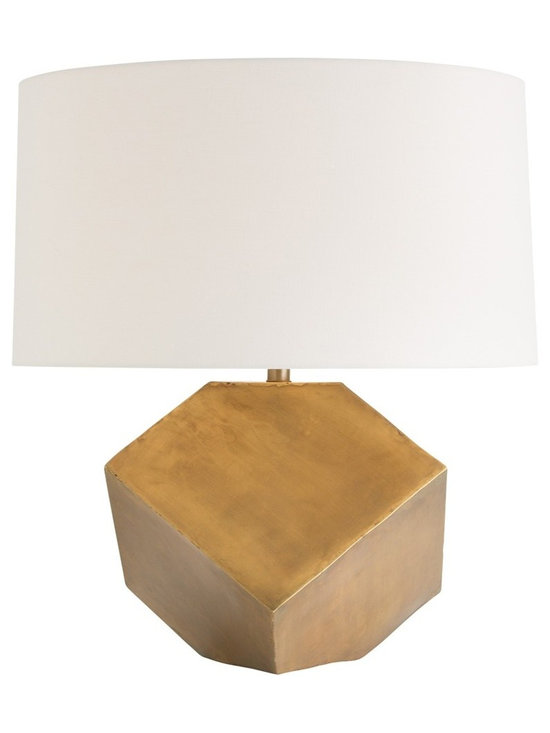 Arteriors Home - Jordan Table Lamp - Jordan Table Lamp features a geometric body in Antique Brass finish topped with an Off White linen shade. One 150 watt, 120 volt A19 3-Way type medium base incandescent bulb is required, but not included. 22 inch width x 26 inch height.