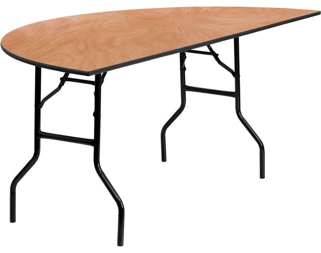 72 half round wood folding banquet table contemporary for Coffee table 72 inch
