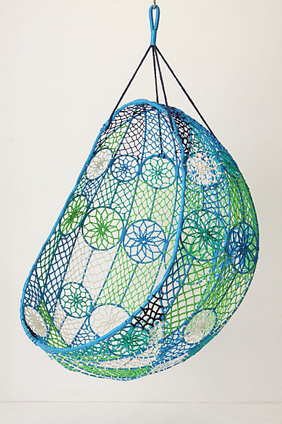 Knotted Melati Hanging Chair, Blue Motif - eclectic - chairs - by ...