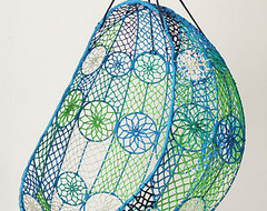 Knotted Melati Hanging Chair, Blue Motif eclectic chairs