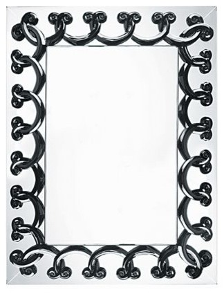 Lalique Rinceaux Mirror Black Large transitional-wall-mirrors
