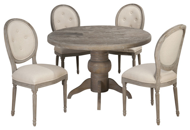 Jofran Burnt Grey 5 Piece 48 Inch Round Dining Room Set W