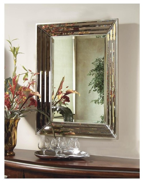Silver Leaf Rectangle Jewels Wall Mirror transitional-mirrors
