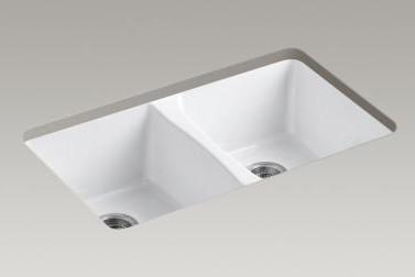 """Kohler K-5873-5U-96 Biscuit Deerfield Deerfield 33"""" Double Basin contemporary-bathroom-sinks"""