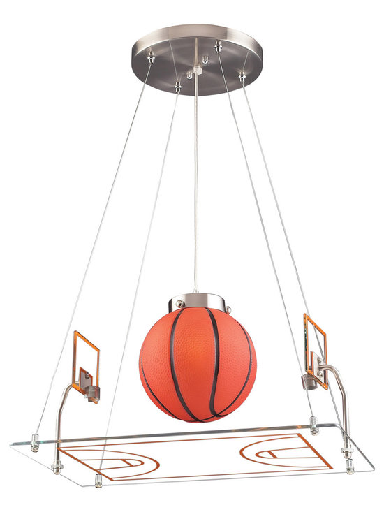 Basketball Court Pendant Light - For the kid who's always on the court, the Basketball Court Pendant adds a unique and whimsical touch to a bedroom or playroom. This novelty pendant light comes complete with a lined glass rink, metal mesh hoops, and an illuminated baskeball. Includes 6 feet of cable.